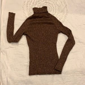 INC sweater turtleneck brown with gold S